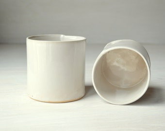 Modern Handmade Cup, White Ceramic Tumbler, White Pottery Cup