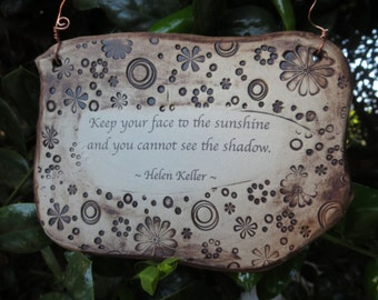 Lovely Helen Keller Inspirational Quote Ceramic Plaque