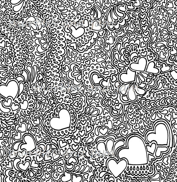 Hearts And More Hearts Printable Adult Colouring Sheet