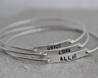 stamped name bangle bracelet set | mommy bracelet | stacking name bracelets | hand stamped sterling silver| push present | names and dates