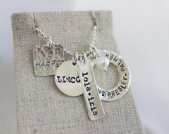 stamped names necklace | family jewelry  mommy jewelry | necklace for mom | grandmothers necklace | push present | new mom gift