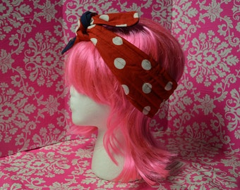 Red Polka dots - Blue Anchor - Headband - Tie back - 3 inches Wide - Rosie the Riveter