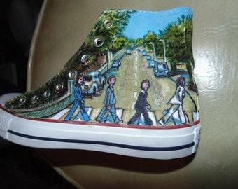 Custom Beatles shoes, OOAK, hand painted original art