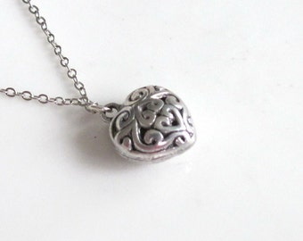 Tibetan Heart Necklace Silver Boho Simple Minimalist Love Necklace Bridesmaid Wedding 4221