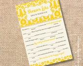 Marigold Ikat Printable Bridal Shower Mad Libs Advice for the Bride-to-Be - INSTANT DOWNLOAD