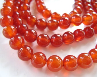 8mm Red Carnelian Beads, 1 Strand, Approx 48 Beads, Dyed, Slightly Translucent in Rusty Copper Orange, Round Gemstones