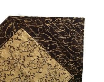 Chocolate brown light brown scrolls wine Table runner