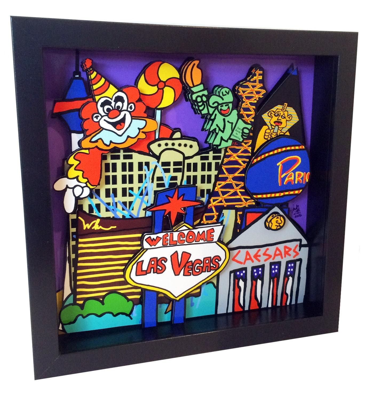 las vegas pop art vegas strip casino 3d artwork print gambling. Black Bedroom Furniture Sets. Home Design Ideas
