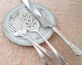Vintage server, knife and forks SET, hand stamped, mr and mrs fortune