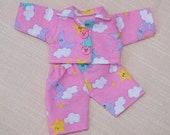 BLACK FRIDAY ~ CYBER Monday- Waldorf Doll Clothes-Two piece  Doll Pink Flannel pajamas ,fit 8 inch dolls