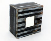 Key box, Black and withe box, Key cabinet, Black wall hanging wooden box, Wall wood box,Organizer box, Wall cabinet, White stripes