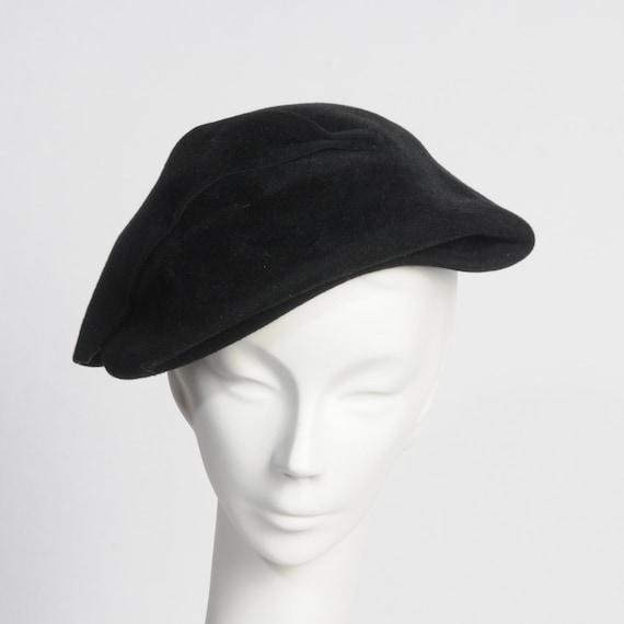 1950's Hat Vintage Black Wool Holly Park
