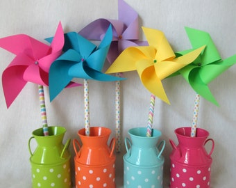 Easter Favors Paper Pinwheels Twirling Pinwheels Birthday Party Favors Baby Shower Favors Birthday Favors Table Centerpiece Spring Favors
