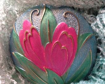 Kramer, Enamel Brooch,Painted Flower, Aqua