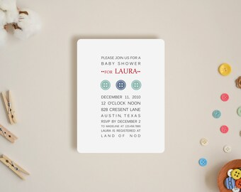 Cute as a Button Invitations - Choose Your Colors