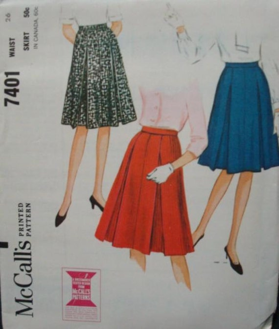 1960s pleated skirt s vintage sewing pattern by