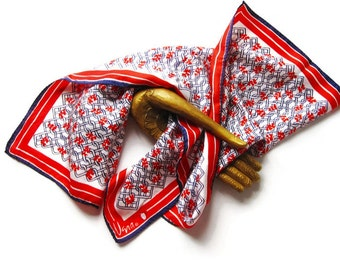1970s Vera Square Scarf - Vintage Red White and Blue