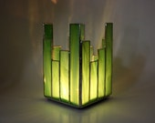 Candle Holder Votive or Tealight Green Stained Glass