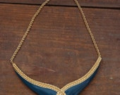 Vintage Gold Teal Green Enamel Necklace Monet Jewelry