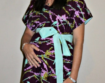 LINED Parker Maternity Hospital Gown - Plum Aviary 2 Sparrows in Lilac - Lined in the Color of Your Choice- by Mommy Moxie