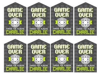 DIY Printable Video Game Party Game Over Favor Thank You Tags