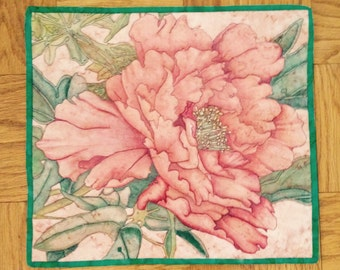 Rose Flower on batik Art Quilt 21x18