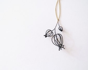 Cluster of wireframed Physalis pendant, abstracted minimalistic flower pendant
