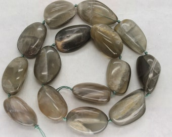 Full Strand Grey Moonstone Smooth Freefrom Nugget Beads