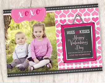 XOXO Valentine's Day photo card, Picture Valentine, Hugs Kisses Valentine - DiY Printable, Print Service Available || XOXO Chalkboard 2.0