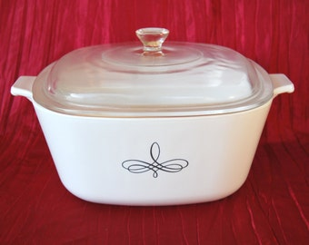 "Vintage 1960s Corning Ware P 2 1/2 B ""Black Trefoil"" Design 2.5 Quart Covered Casserole"