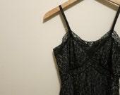 Vintage pinup lingerie Black Van Raalte Slip ALL LACE dress nude illusion 1950s 32 S