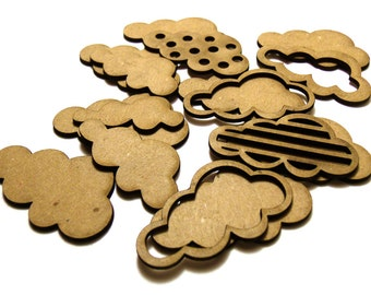 Layered Clouds - shaped chipboard embellishments for scrapbooking, card making, altered art, mixed media, tags, canvases and more.