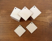 """25 Earring Squares 1"""" (25.4mm) x 1/8"""" (3.175mm) Thick Unfinished Wood Cutouts Pendant Earrings Jewelry Making Shapes"""