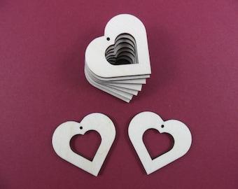 "25 Wood Hearts Earring Shapes 1 1/2"" x 1 5/8"" x 1/8"" Laser Cut Wood Earrings Pendant Jewelry Shapes"