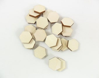 Wood Hexagon Stud Earring 14mm Wood Laser Cut Jewelry Making Blank Shapes - 25 Pieces