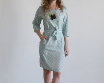 Clearance SALE/ Mint party dress/ women Pencil dress/ Bridesmades dress/ Cocktail dress/ Polka dots dress