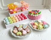 1:6 scale Miniature Food - Dolls fake food Party Celebration Gift Cake Cookies Candy Macarons (select option see 2nd & 3rd photo)