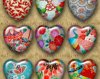 1 inch JAPANESE MOTIFS No. 1 Digital Printable Hearts collage sheet for Jewelry Pendants Crafts...Butterfly Flower