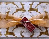 Christmas Card, Flying Reindeers Christmas Card, Gold Reindeers Christmas Card