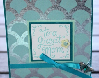Birthday card for Mom, Seashell Foil Design