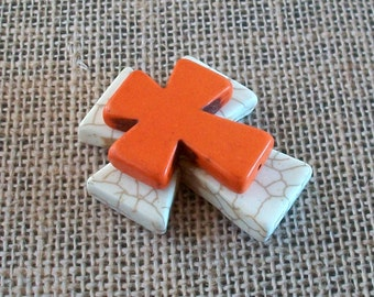 Large Stacked Cream Colored Stone Cross with Orange Stone Cross