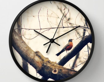 Art Wall Clock Robin Red Breast fine art photography home decor
