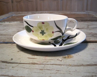 Hand Painted Dogwood Cup and Saucer by Joni China