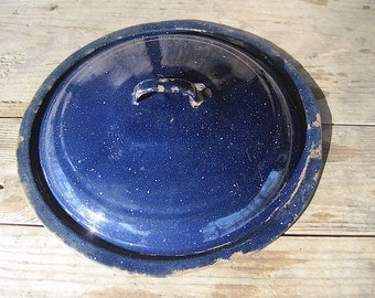 Large Blue Rusty Granite Ware Lid