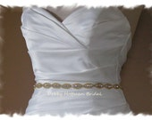 "Gold Bridal Belt, 33"" Gold Beaded Crystal Wedding Belt, Jeweled Bridal Sash, Gold Wedding Dress Sash, Rhinestone Gold Sash, No. 4070GS-33"