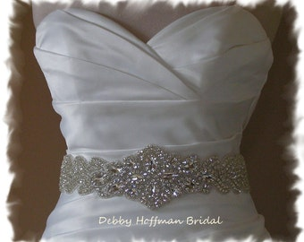 Bridal Sash, Rhinestone Crystal Wedding Dress Sash, Jeweled Bridal Sash, Crystal Wedding Belt, Wide Rhinestone Bridal Belt, No. 5080S-3060