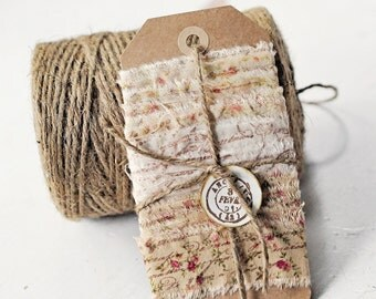 tea stained, floral fabric ribbon, white ribbon, hand stamped, french script