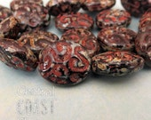 Ancient Fossil - Czech Glass Chunky Oval beads 17mm x 14mm - 10pcs - Black Sepia Brick Rustic Picasso - Central Coast Charms