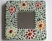 Mosaic & Fused Glass Mirror with Flowers and Green Mirror Glass Detail