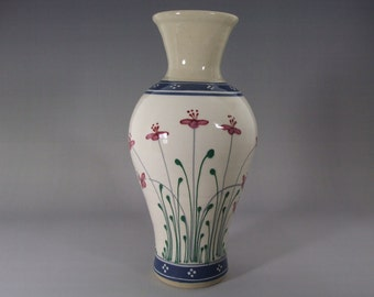 """Extra Large Vase Red and Pink Flowers with Blue banding and Green Accents 13.5""""   tall Stoneware"""